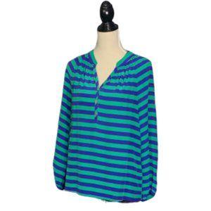 LILLY PULITZER Elsa Blue Green 100% Silk Blouse M